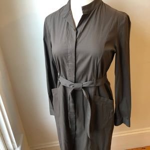 Tahari Grey button down shirt dress 14